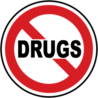 No Drugs Label with Prohibition symbol