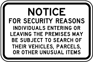Notice For Security Reasons Individuals Entering Or Leaving The Premises May Be Subject To Search.. Sign