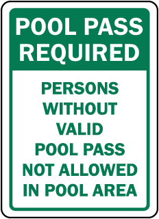 Pool Signs - Recreation Area Signs, Swimming and Pool Signs, F7673