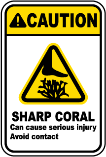 Caution Sharp Coral Can cause serious injury Avoid contact sign