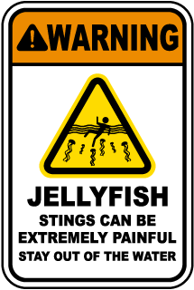 Warning Jellyfish Stings Can Be Extremely Painful sign