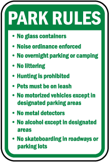 Park Rules No glass containers sign