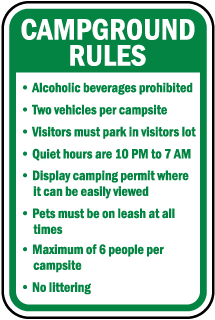 Camground Rules Alcoholic beverages prohibited sign
