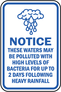Notice These Waters May Be Polluted With High Levels Of Bacteria sign