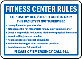 Fitness Center Rules For Use By Registered Guests Only sign