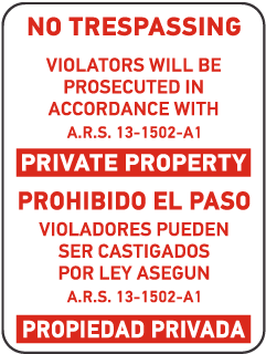 Bilingual Arizona No Trespassing Sign