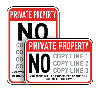 Custom Private Property Sign Black