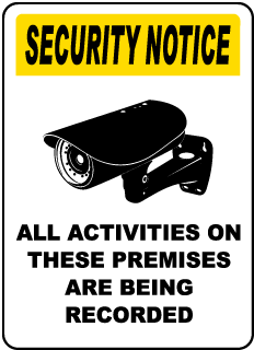 Security Notice All Activities On These Premises Are Being Recorded Sign