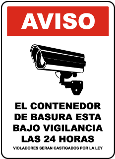 Spanish 24 Hour Dumpster Surveillance Sign