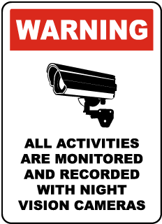 Warning All Activities Are Monitored And Recorded With Night Vision Cameras Sign