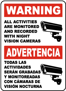 Bilingual Monitored By Night Vision Camera Sign