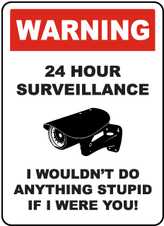Warning 24 Hour Surveillance I Wouldn't Do Anything Stupid If I Were You! Sign