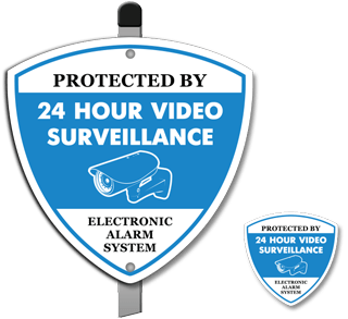 Protected by 24 Hour Video Surveillance Electronic Alarm System Sign