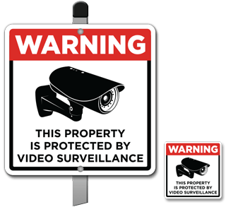 Protected by Video Surveillance Yard Sticker