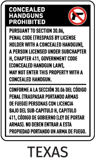 Bilingual Texas 30.06 No Concealed Handguns Sign