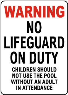 Arkansas No Lifeguard Sign