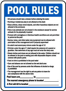 Arkansas Pool Rules Sign