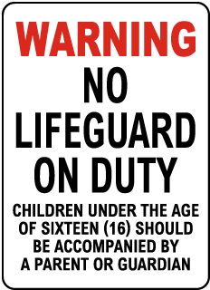 Delaware No Lifeguard Sign