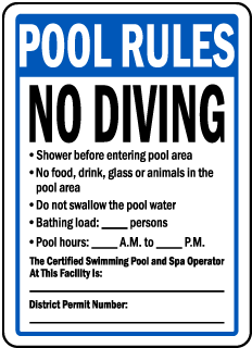 Washington DC Pool Rules No Diving Sign