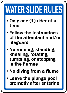 Indiana Water Slide Rules Sign