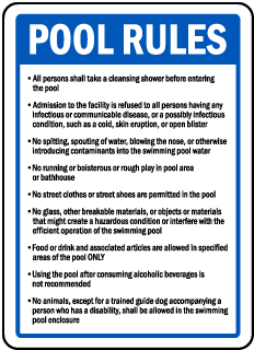 Michigan Pool Rules Sign