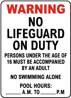 New Jersey No Lifeguard Sign