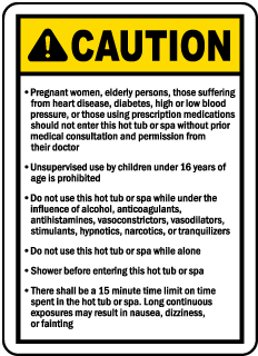New Jersey Spa Caution Sign