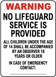 New Mexico No Lifeguard Sign