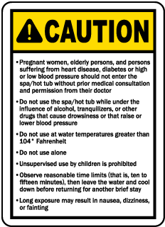 Ohio Spa Caution Sign