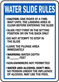 Oregon Water Slide Rules Sign