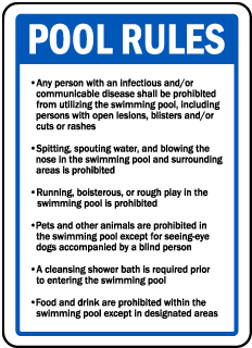 Rhode Island Pool Rules Sign