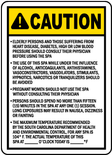 South Carolina Spa Rules Sign