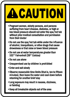 South Dakota Spa Caution Sign