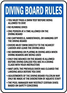 Washington Diving Board Rules Sign
