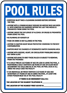 Washington Pool Rules No Lifeguard on Duty Sign
