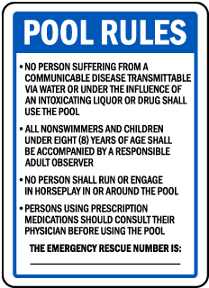 Wyoming Pool Rules Sign