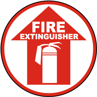 Fire Extinguisher Floor Marker with arrow