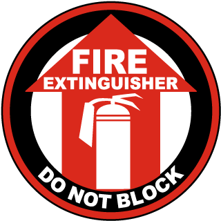 Fire Extinguisher Do Not Block Floor Marker with arrow