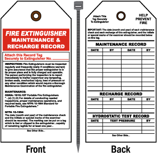 Fire Extinguisher Maintenance and Recharge Record Tag