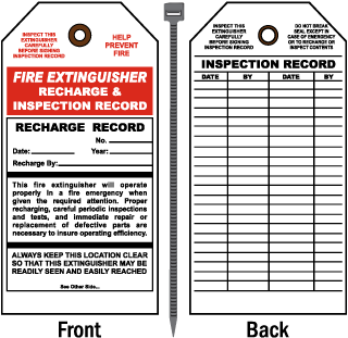 Fire Extinguisher Recharge and Inspection Record Tag