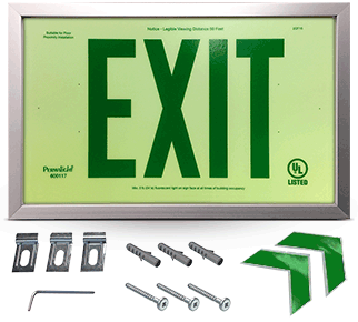 Photoluminescent Framed Green Exit Sign