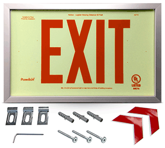 1 Sided and 2 Sided Framed Red Exit Sign