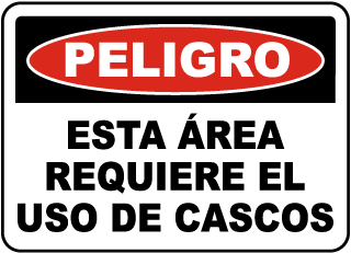 Spanish Danger Hard Hat Area Sign