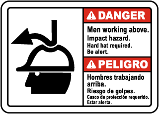 Bilingual Danger Men Working Above Impact Hazard Sign
