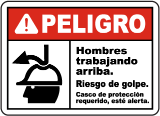 Spanish Danger Men Working Above Impact Hazard Sign