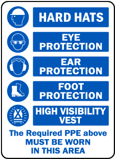 HARD HATS. EYE PROTECTION. EAR PROTECTION. FOOT PROTECTION. HIGH VISIBILITY VEST. The Required PPE above MUST BE WORN IN THIS AREA.