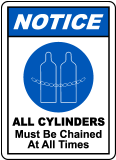 Notice All Cylinders Must be Chained At All Times