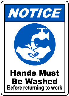 Notice Hands Must Be Washed Before Returning to Work