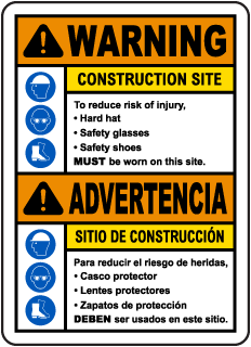 Bilingual Warning Construction Site Risk of Injury Sign
