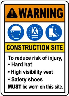 Warning Construction Site Sign